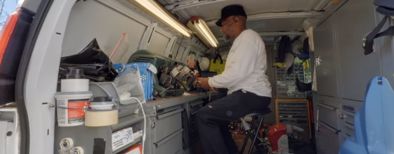 A-Aron Mobile locksmith working in the van