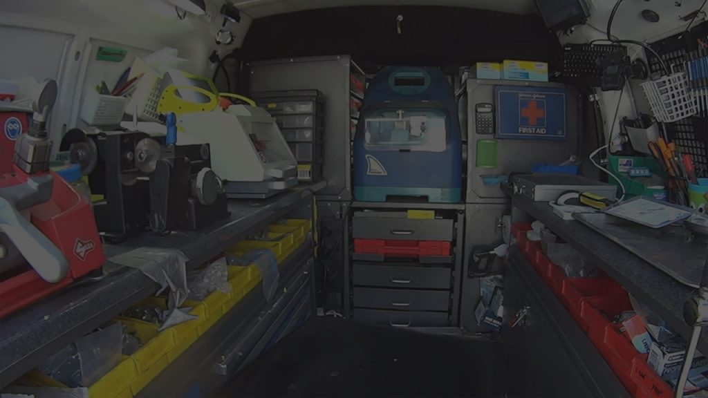 Mobile locksmith tools in the van