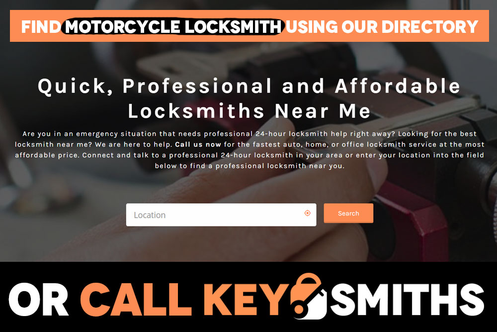 Find Motorcycle Locksmith by calling Key Smiths