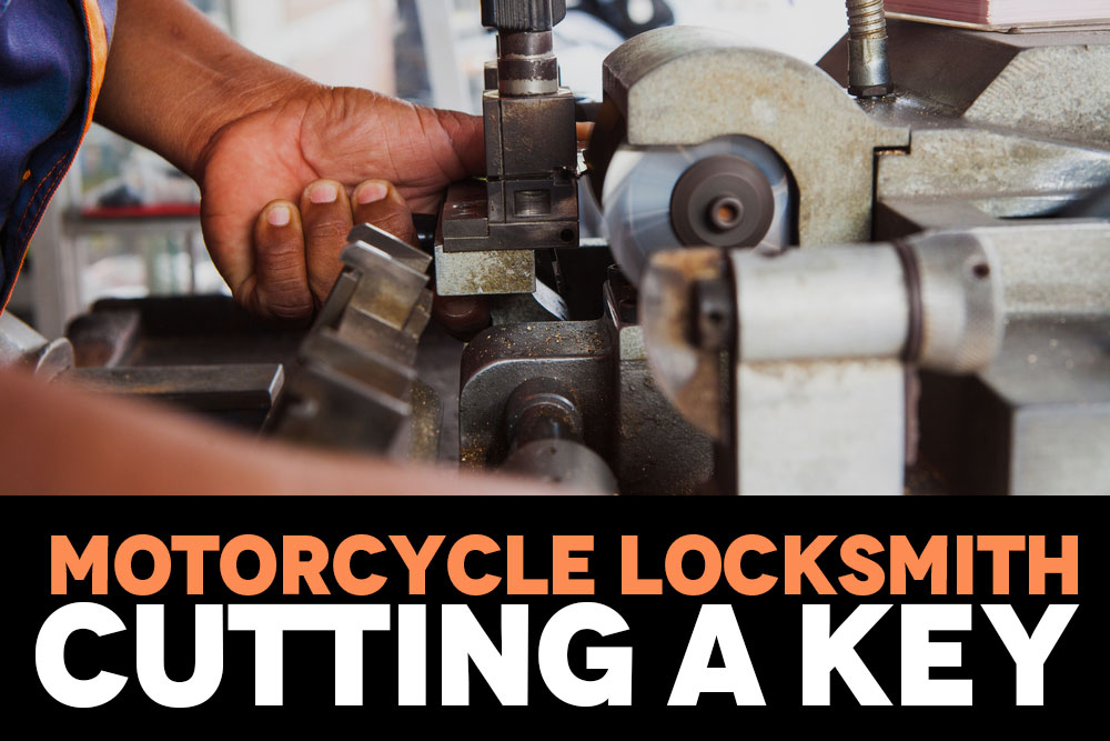 Motorcycle Locksmith Cutting a Key